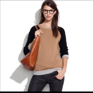 Madewell waffle stitch color block sweater